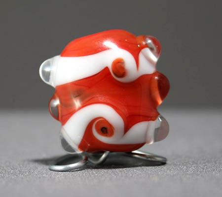 Red and White Swirls Focal Bead