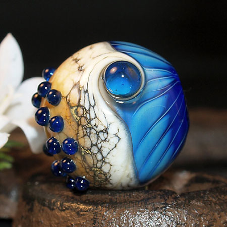 Ivory and Blue Silverglass Lampwork Bead