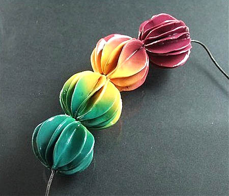 Polymer Clay Ruffle Beads