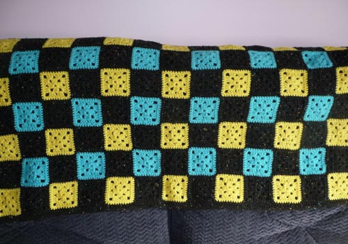 Blue and Yellow Granny Squares Afghan