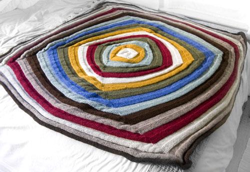Hand Knit Geometric Afghan