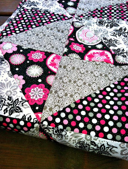 Pink and Black Quilted Baby Blanket