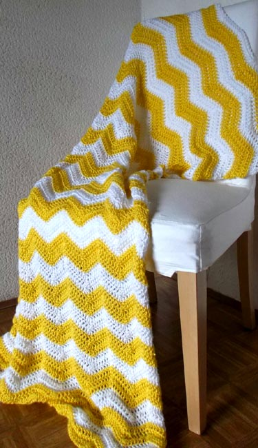 Bright Yellow And White Chevron Stripe Afghan