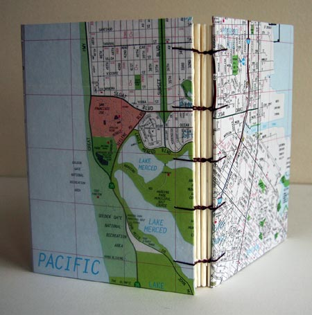 Coptic Stitch Journal With San Francisco Map Cover