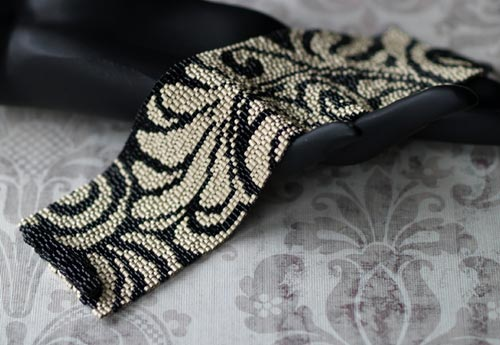 Peyote-Stitched Damask Design Cuff