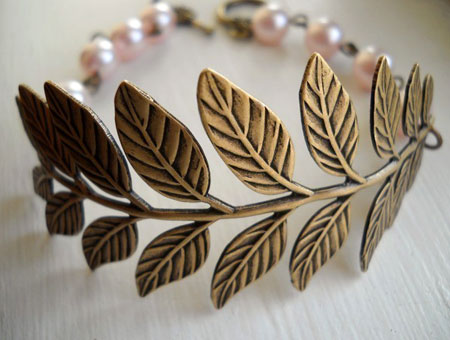 Antiqued Brass Leaf Bracelet