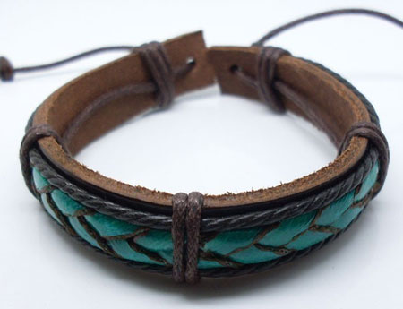 Leather and Bulrush Cuff