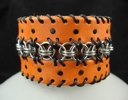 Orange Leather & Chainmail Cuff