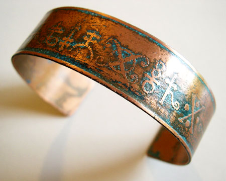 Etched Copper Cuff with Alchemy Symbols
