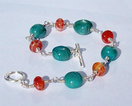 Blue Stones & Orange Agate Bracelet