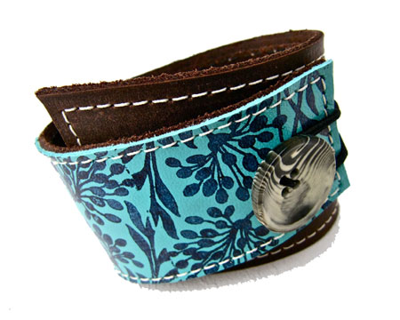 Brown And Turquoise Leather Cuff