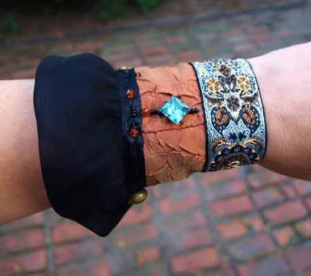 Vintage Textile Steampunk Cuff