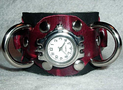 Magenta Leather Watch Cuff