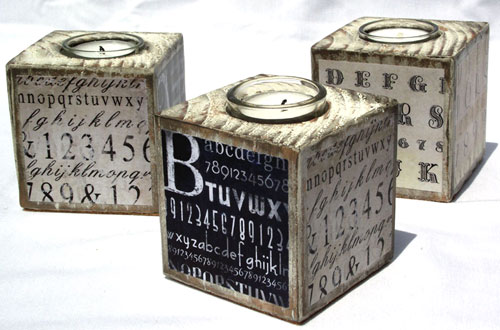 Decoupaged Typography Candle Blocks