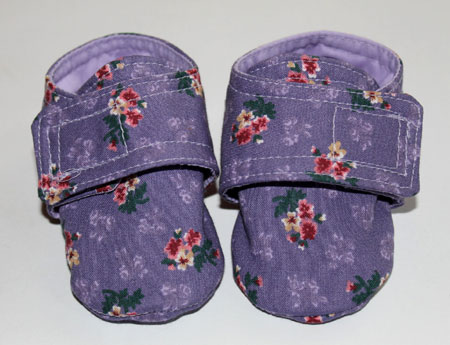 Purple Floral Baby Booties