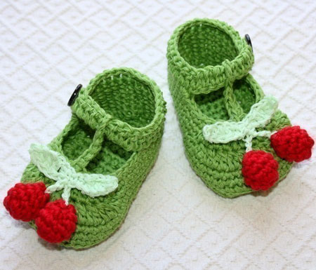 Baby Booties With Cherries