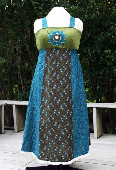 Handmade Dress with Flower Applique Focal