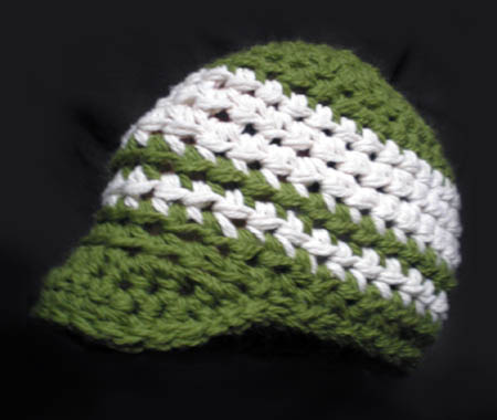 Green and White Crocheted Brim Hat