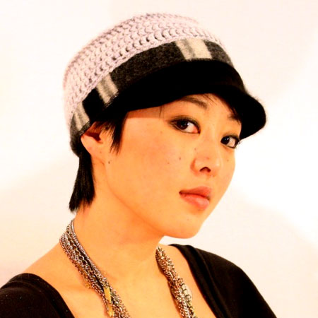 Crocheted Military Style Brim Hat