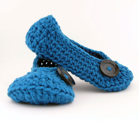 Blue Crochet Slippers With Button Accent