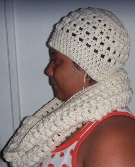 Matching Cream Beanie And Infinity Scarf Set