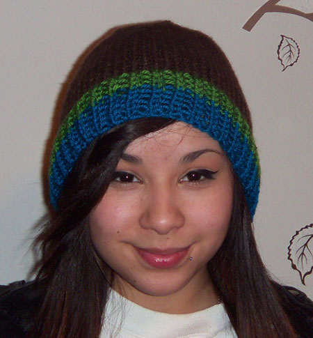 Chocolate Brown Beanie Hat With Kelly Green and Teal Stripes
