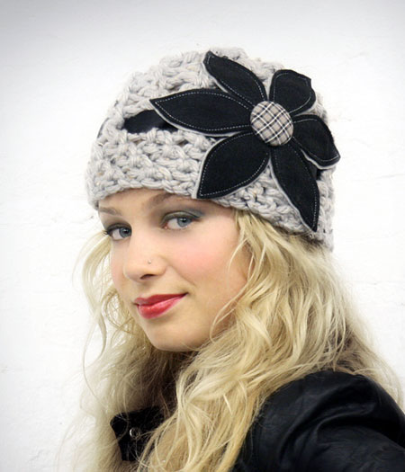 Felt Flower Crochet Cloche