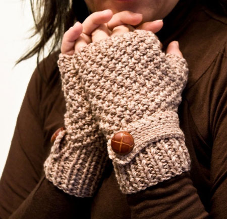 Beige Fingerless Gloves With Mock Wrist Strap