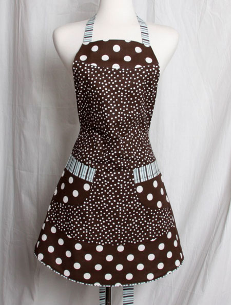 Brown and White Polka Dots Full Apron