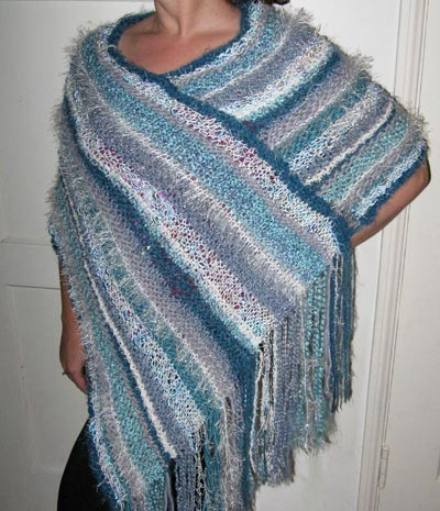 Handknit Striped Poncho