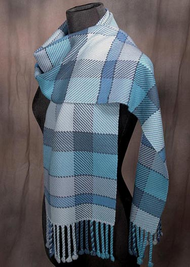 Blue Plaid Merino Scarf