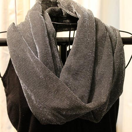 Silver and Black Shimmering Infinity Scarf