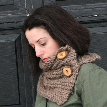 Handknit Neckwarmer With Tree Branch Buttons