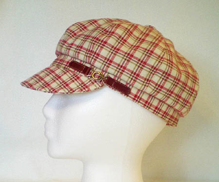 Raspberry Plaid Newsboy Hat