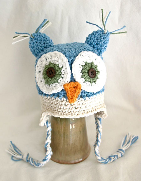Crocheted Ear Flap Owl Hat