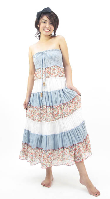 Denim Patchwork Halter Dress