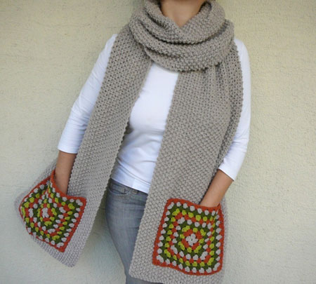 Wide Scarf With Granny Square Pockets