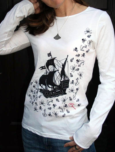 Screenprinted Pirate Long-Sleeved T-shirt