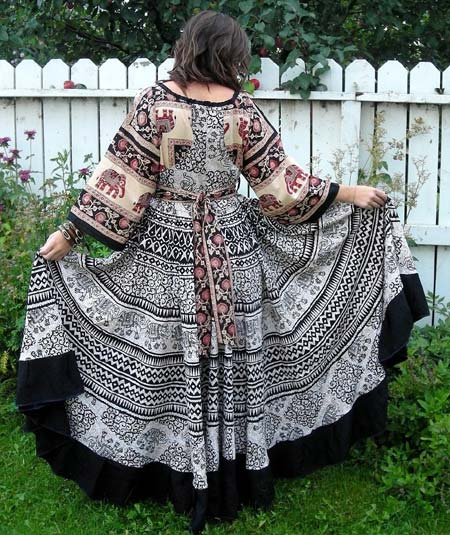 Sundress with Full Circle Skirt and Kimono Sleeves