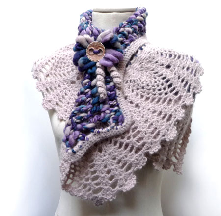 Crochet Wool Capelet Shawl