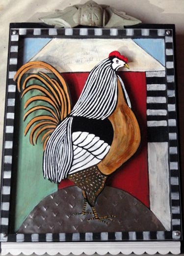 Mixed Media Rooster Wall Art