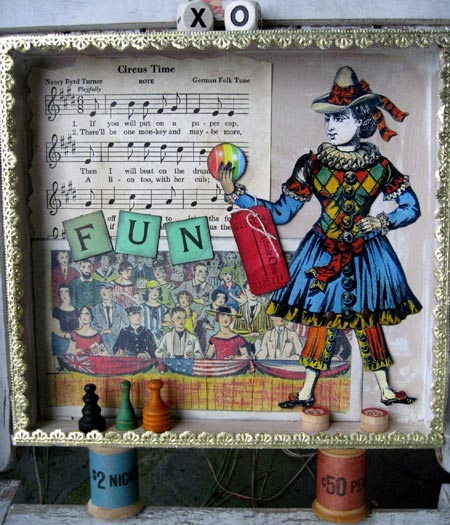 Mixed-Media Circus Theme Shadowbox
