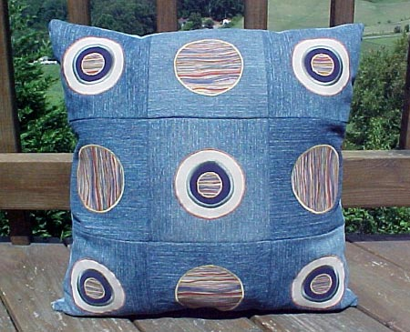 Appliqued Circles on Denim Pillow
