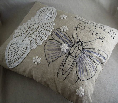 Embroidered Moth Collage Pillow