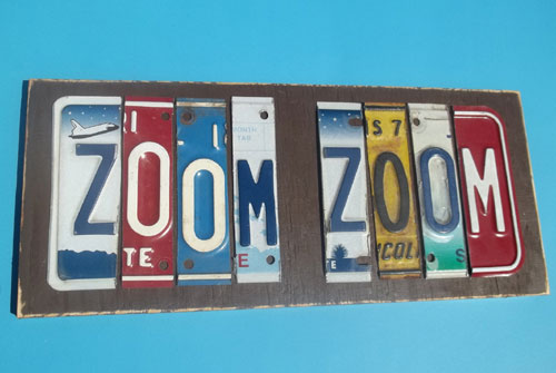 Zoom Zoom Cut License Plate Wall Hanging