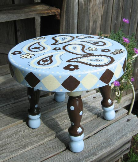 Hand Painted Paisley Stool