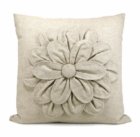 Linen Flower Pillow Cover