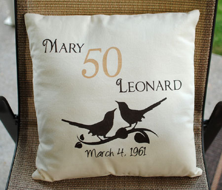 Hand Painted Anniversary Date Pillow Cover