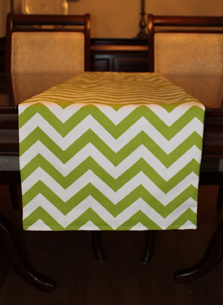 Green Chevron Table Runner