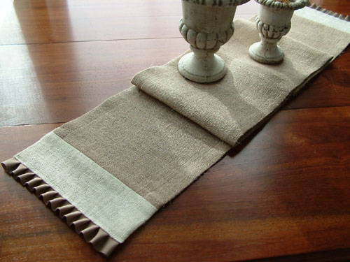 Pleated Jute Burlap Table Runner